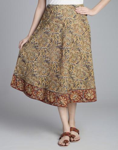 cfe9c08ae41 Buy Cotton Kalamkari Contrast Border Short Skirt Online in India at ...
