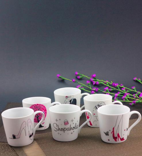 Buy Shopaholic Tea Coffee Mug Set Of 6 Online In India At Cooliyo
