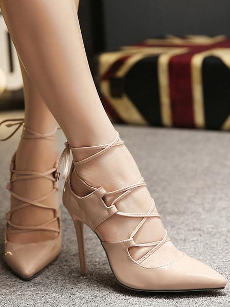 86ba2eb8ff8c Buy Nude Lace Up High Stiletto Heel Pumps Online in India at cooliyo ...