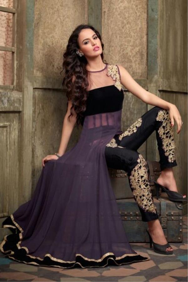5f8df14f85f24 Buy Georgette & Net Party Wear Salwar Suit in Purple Colour Online ...