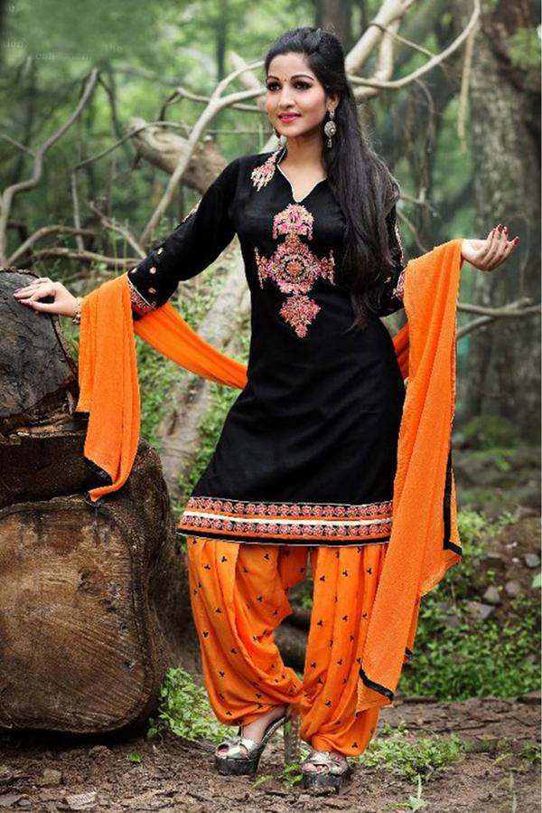 81259e8710 Buy Cotton Casual Wear Patiala Suit In Black Colour Online in India ...