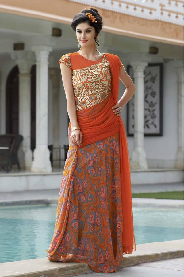 Buy Georgette Semi Stitched Party Wear Gown In Orange Colour Online ...