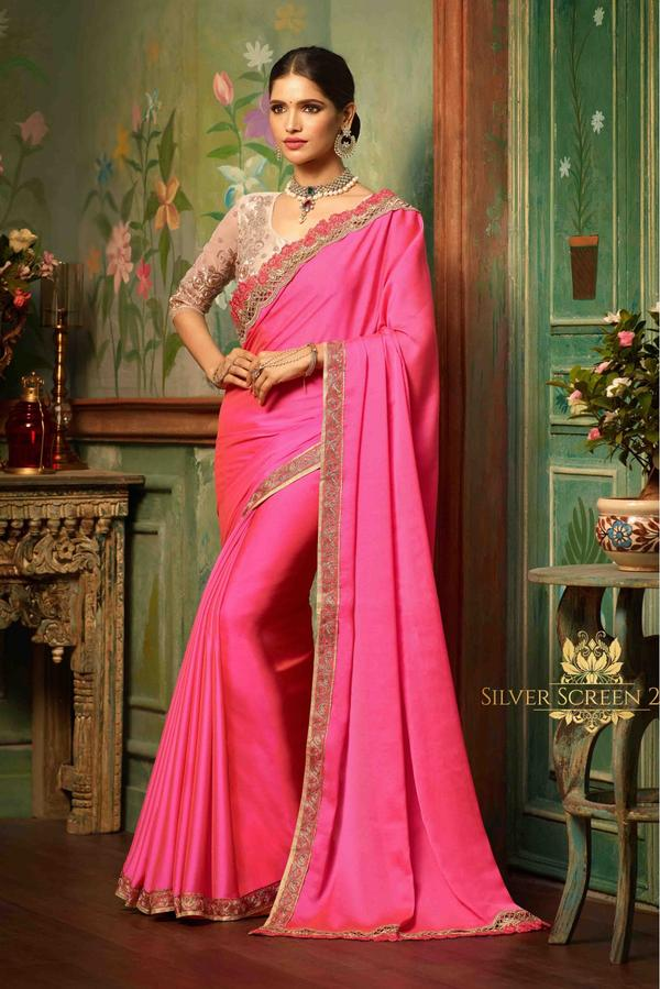 b56b8fac9a6c47 Buy Silk Saree In Pink Colour Online in India at cooliyo : coolest ...