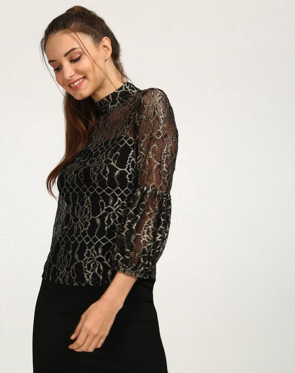 3fb0dcc99d3e8 Buy Black Metallic Lace Daisy Cut Out Top Online in India at cooliyo ...
