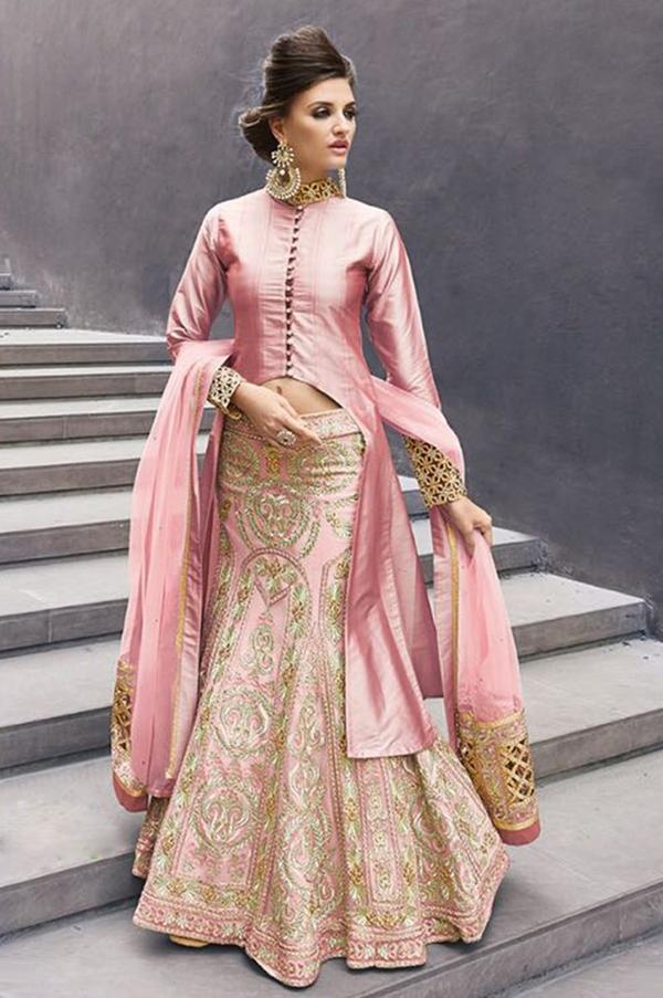 2a473e1389b Rose Pink Indian designer wedding wear lengha choli with long jacket Image