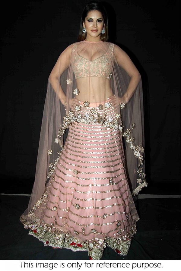 b5a9ca4e35 Bollywood Style Sunny Leone Nylon Net and Raw Silk Lehenga In Baby Pink  Colour Image