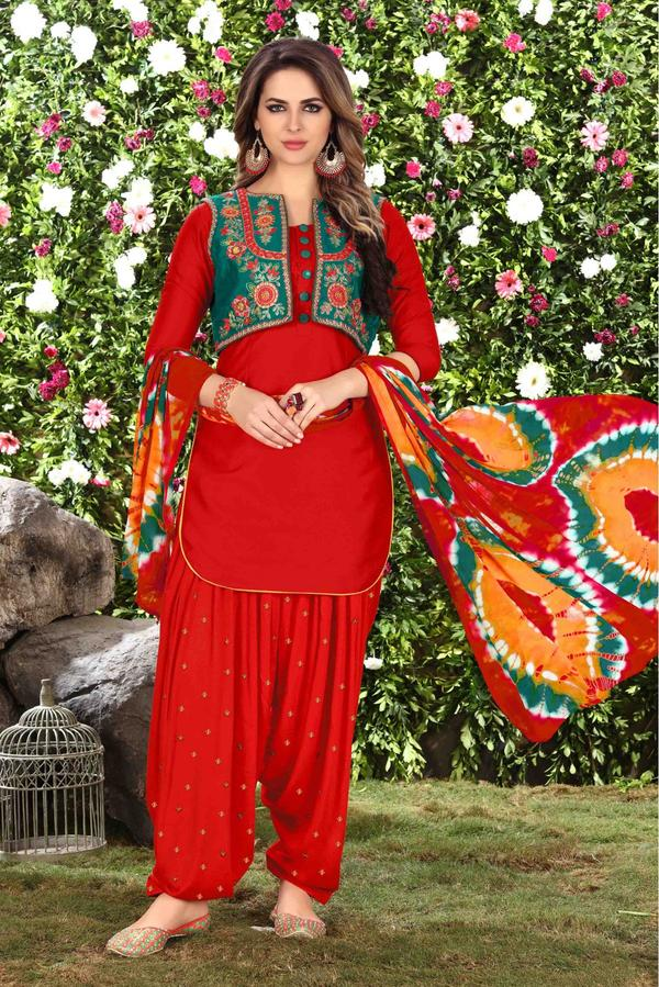 bd9e354afa Buy Unstitched Cotton Patiala Suit In Red Colour Online in India at ...
