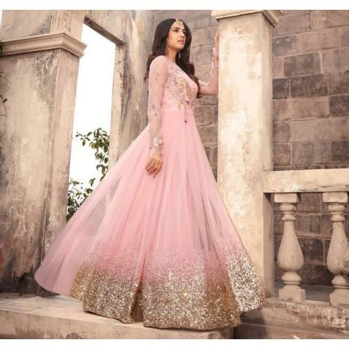 3b7e76030d Akshaya Emporium Net Pink Embroidered Semi Stitched Long Anarkali Suit Image