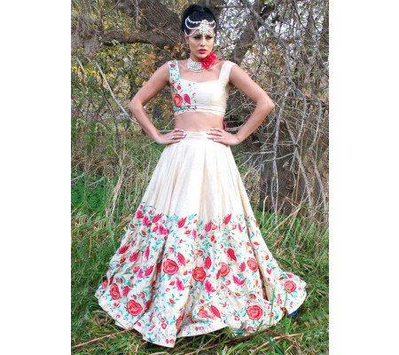 f2760e600c6 Online Shopping for Shreeji Fashion New Cream Banglori Silk Designer  Lehenga Choli by shreejifashion on Zipker.com