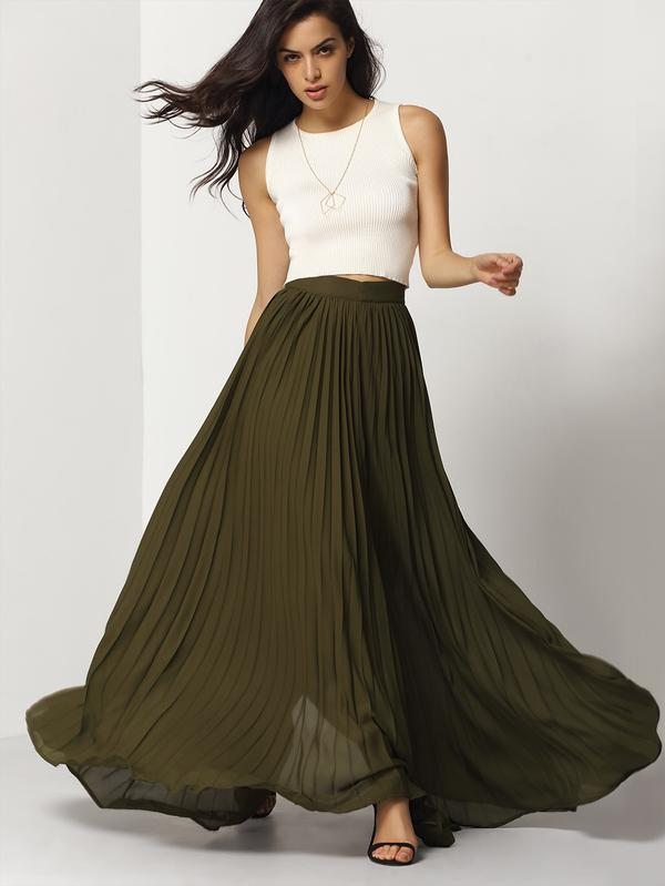 1ab4aa94da Buy Army Green Pleated Maxi Skirt Online in India at cooliyo ...