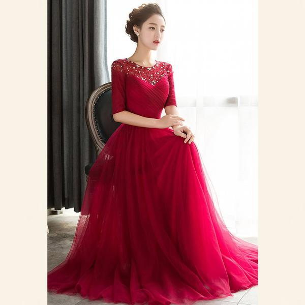 Buy Net Red Plain Designer Gown Online in India at cooliyo   coolest ... 187703a48