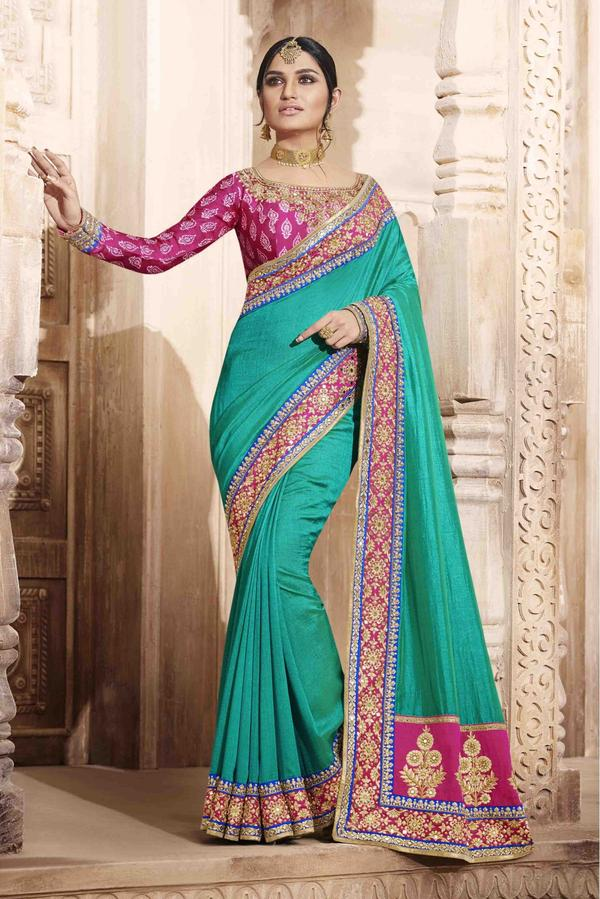 db32d9abb8a705 Buy Art Silk Saree In Turquoise Colour Online in India at cooliyo ...