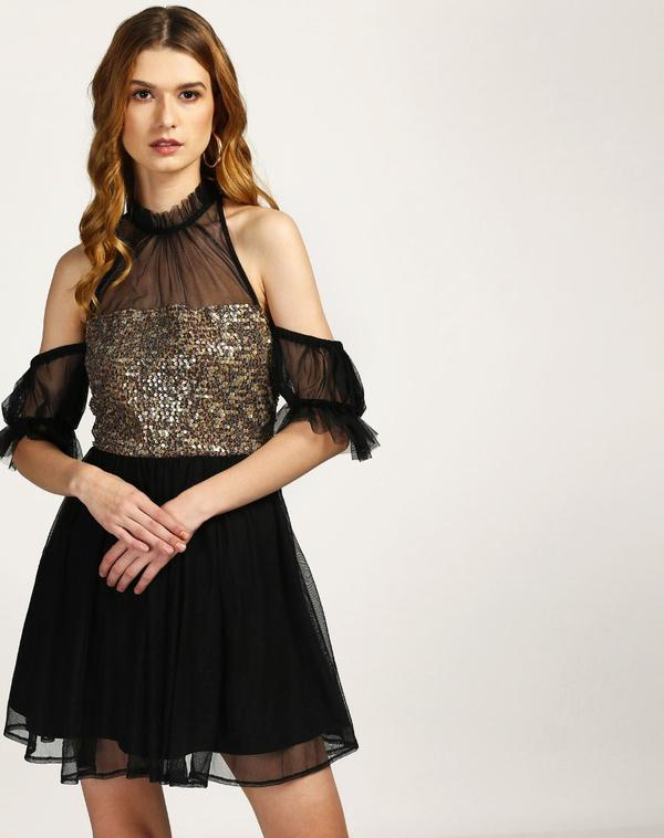 5e8efe37bc Buy Metallic Monisa Cold Shoulder Dress Online in India at cooliyo ...
