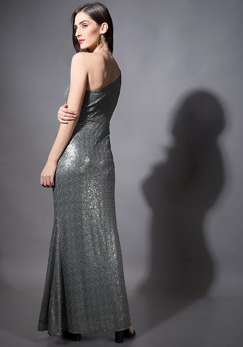 143dd26f Buy Silver Sequin Mermaid Maxi Dress Online in India at cooliyo ...