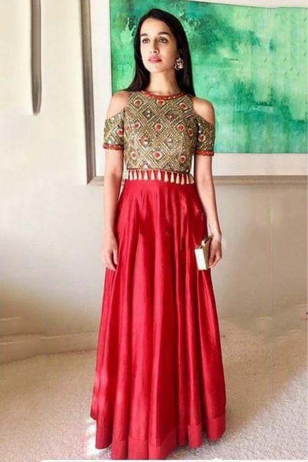 55702ca3e1e Buy Shraddha Kapoor Taffeta Silk Gown In Red Colour Online in India ...