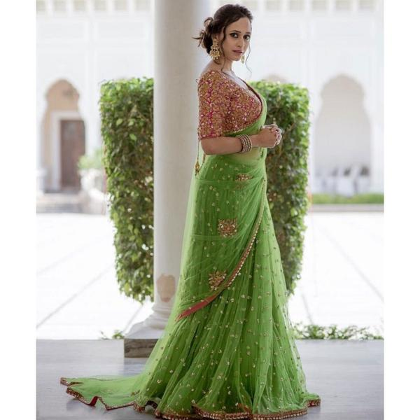 Buy Net Green Embroidered Saree Online In India At Cooliyo Coolest