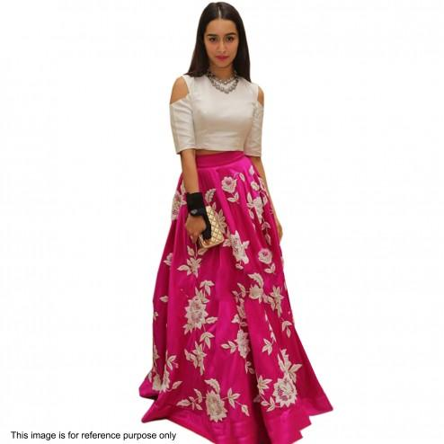 5e5961bd74c3a Buy White Cut Out Crop Top   Pink Floral Lehenga Online in India at ...