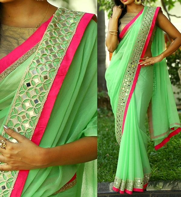 6b0603b2ab Buy Green Color Georgette Saree With Mirror Work Online in India at ...