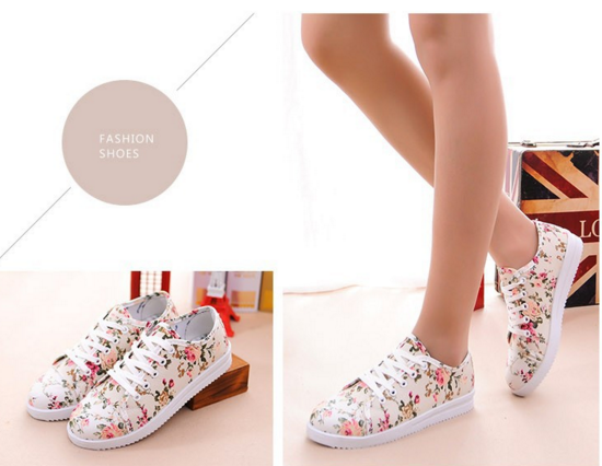 Cream Floral canvas shoes loafers sneakers