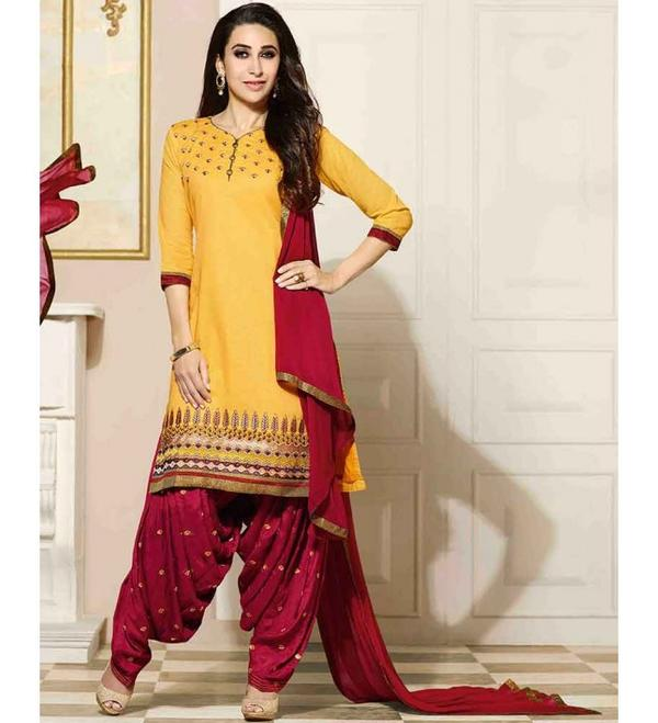 d8dacbf97e3 Buy Semi Party Wear Zari Embroidered Patiala Suit Online in India at ...