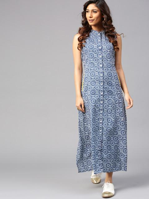 Buy AKS Women Blue   White Printed Maxi Dress Online in India at ... 96213bf92d7f