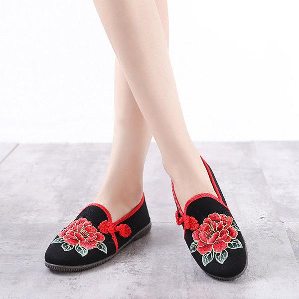 9825cc897dad Buy Flower Canvas Chinese Button Flat Shoes Online in India at ...