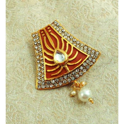 eebc917ae Buy Yellow Gold Finish Alloy Metal Designer Meenakari Brooch Online ...