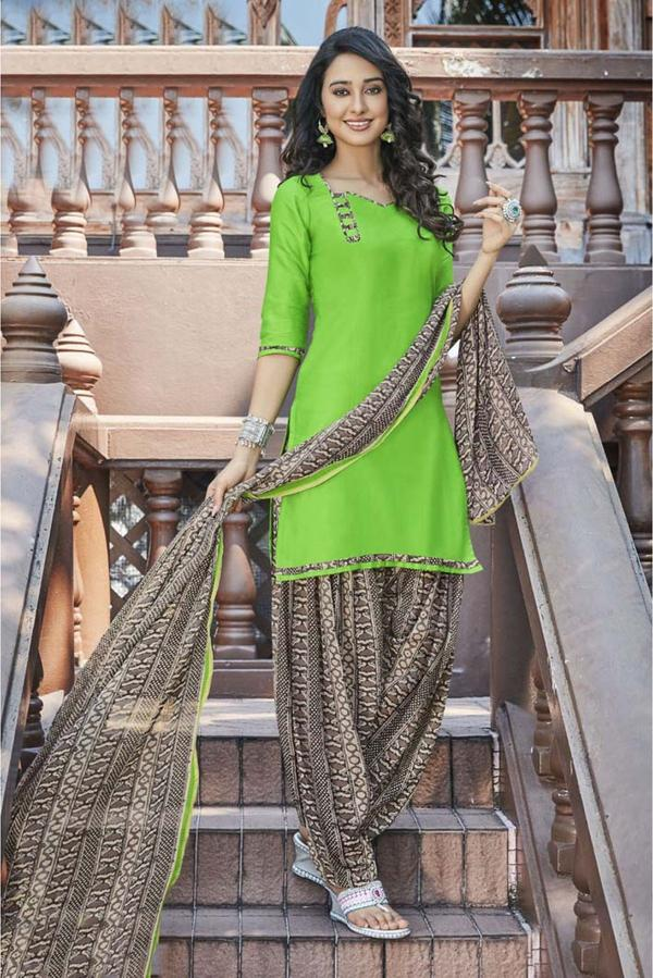 c22e1ffb23 Buy Unstitched Cotton Satin Patiala Suit In Light Green Colour ...