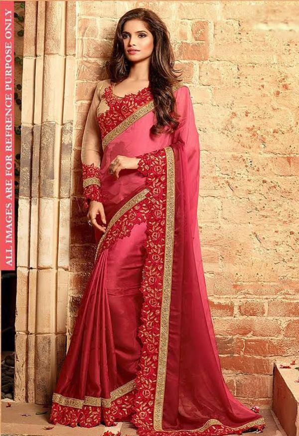 afd5109c9454d5 Buy Red Color Chiffon Saree Online in India at cooliyo : coolest ...