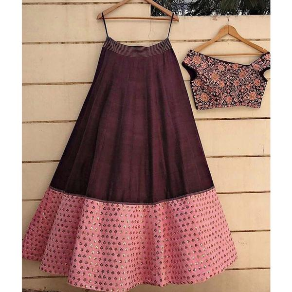 59dd2487a Buy Poly Silk Brown Plain Semi Stitched Lehenga Online in India at ...