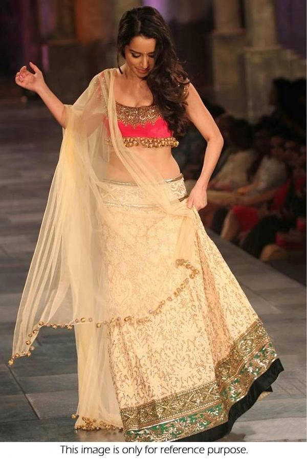 9a2ac60b15d Bollywood Style Shraddha Kapoor Net Lehenga In Cream and Pink Colour Image