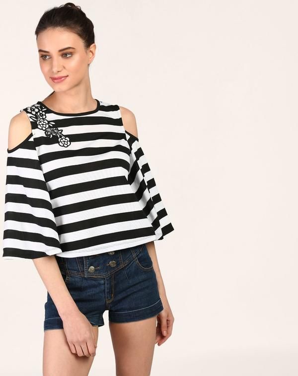 7ae1b133d56e6 Buy Striped Trish Cold Shoulder Embroidered Top Online in India at ...