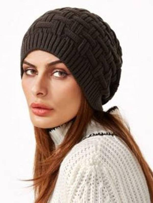 Black Slouchy woolen Long Beanie Cap for Winter skull head Unisex Cap Image 285def7f088