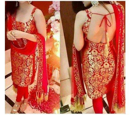 8c08ebc3b7 Buy Brocade Self Design UStitched Straight Suit Dress Material (Red ...