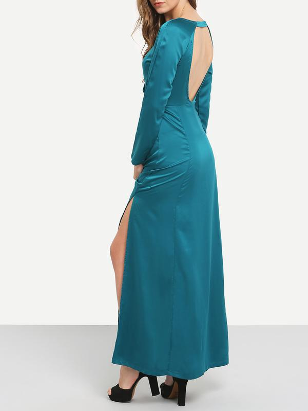 8de0ff7480 Buy SHEIN Green Teal Promdress Long Sleeve Backless Split Maxi Dress ...