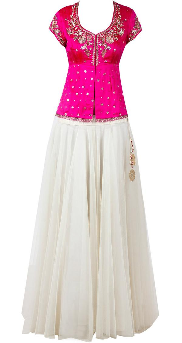 4503dd4d655fa6 Buy White net lehenga with hot pink blouse Online in India at ...