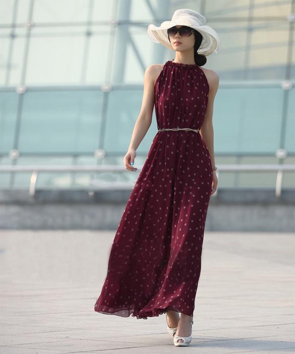 30acc8fe65 Women's Elegant Chiffon Dot Vest Maxi Full Long Dress Sleeveless With Belt  Image
