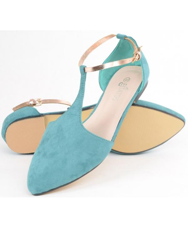 0925e4fc9e2bf Buy Leather With Shiny Golden Strap Flat Blue Turquoise Sandals ...