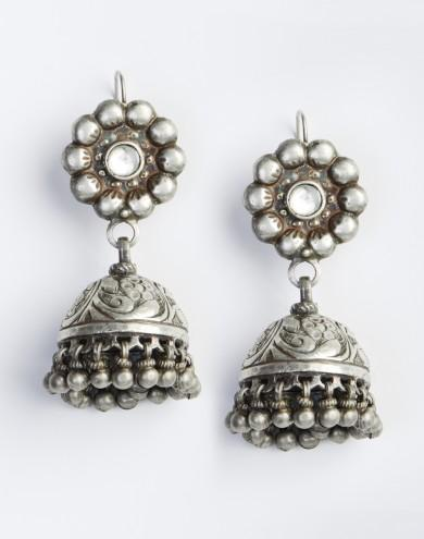 01a69e3ed131f Silver Anusuya Jhumka Earrings