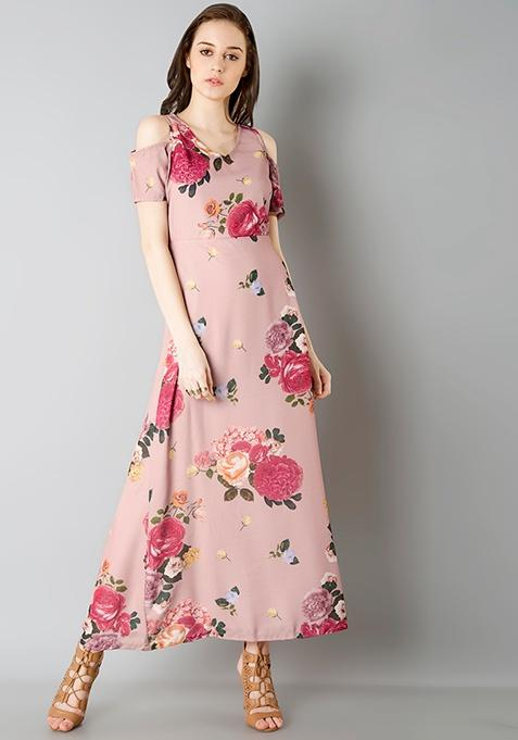 cde96b6734a2 Buy Pink Floral Cold Shoulder Maxi Dress Online in India at cooliyo ...