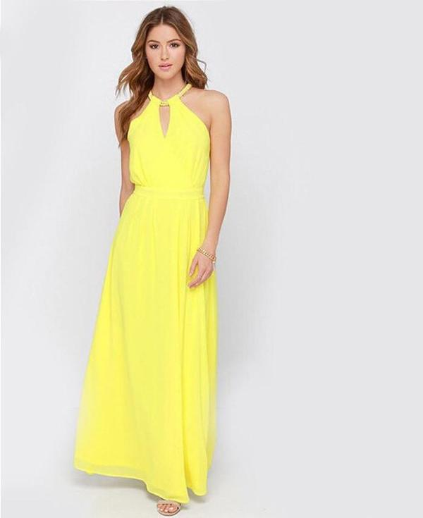 43737e2e7c52 Buy Yellow halter maxi dress Online in India at cooliyo   coolest ...