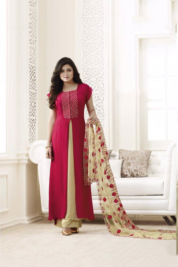 Semi Stitched Palazzo Pant Suit In Pink and Beige Colour