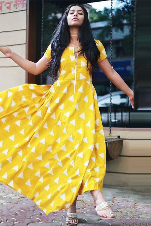 555edad2a64c Buy Cotton Blend Party Wear Maxi Dress In Yellow Colour Online in ...