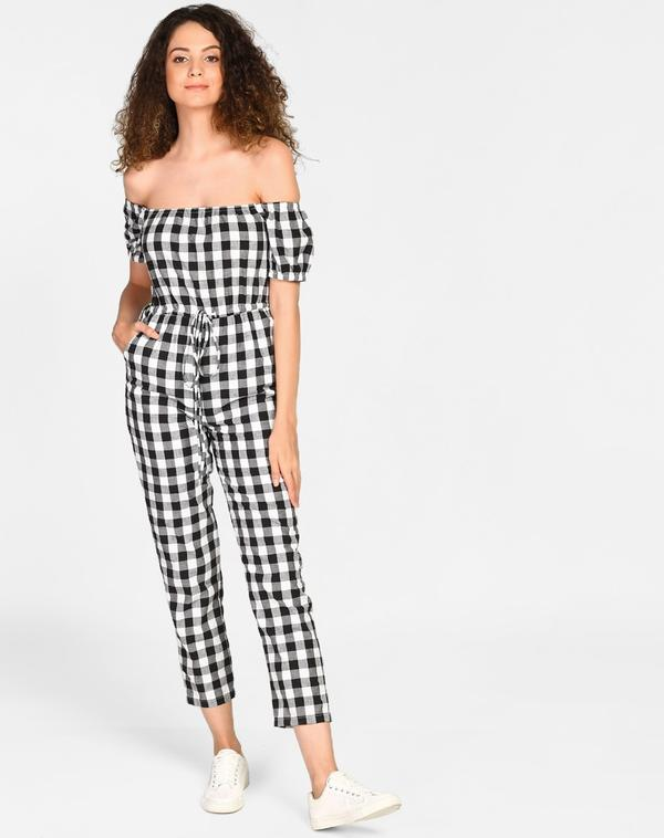 b03968c24cb Buy Checkered Inna Knotted Off Shoulder Jumpsuit Online in India at ...