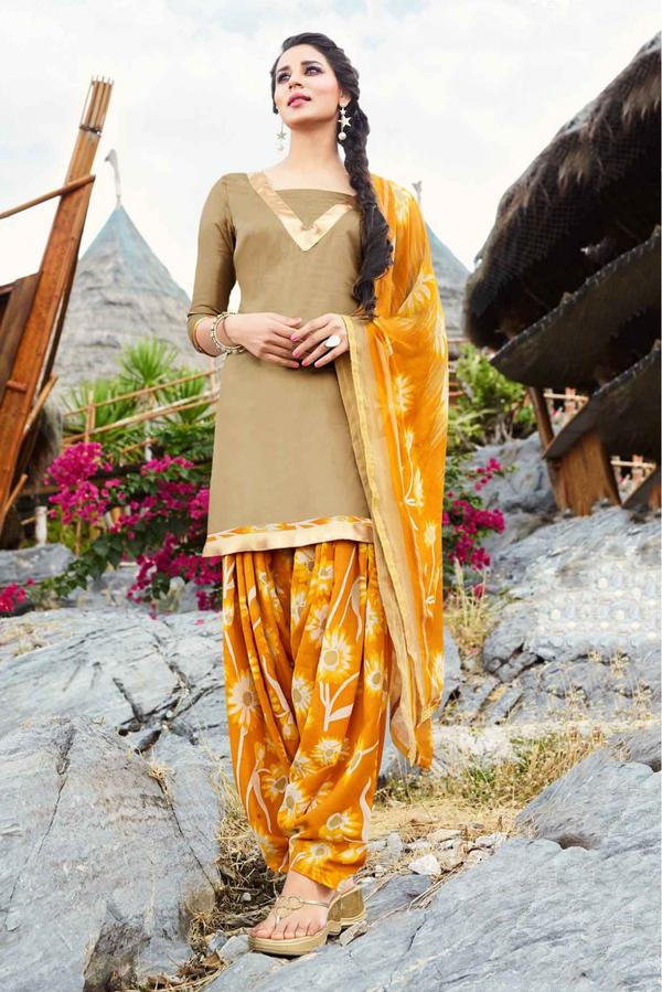 0a97143b1d Buy Unstitched Glace Cotton Casual Wear Patiala Suit In Brown Colour ...
