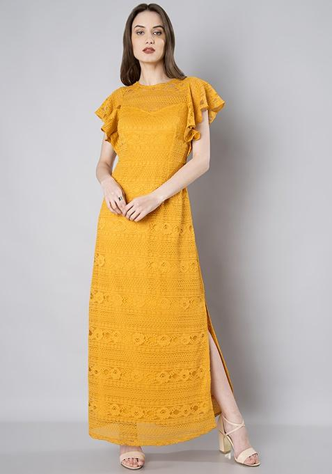 9222db1fc24b Buy Mustard Ruffle Sleeve Lace Maxi Dress Online in India at cooliyo ...