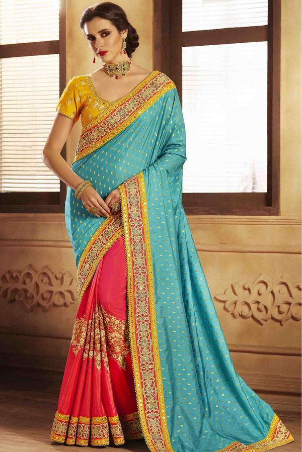 cc2f96bed0b6b5 Handloom Silk And Jacquard Half N Half Saree In Sky Blue And Pink Colour  Image