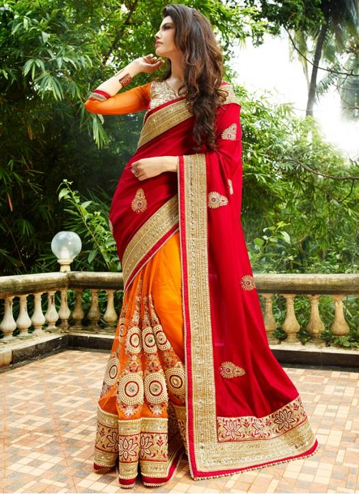 766a0a7e5c911 Buy Orange   Red Color Net   Georgette Saree. Online in India at ...