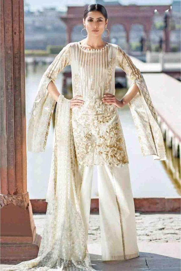 Lawn Cotton Pakistani Suit In White Colour