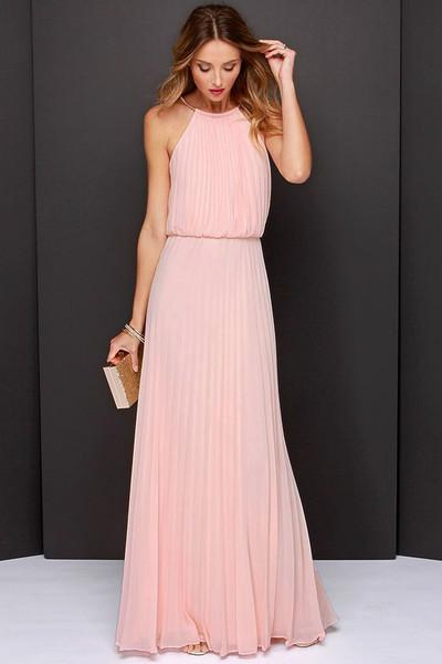 6b782eafae59e2 Buy Sleeveless Halter Pleated Maxi Dress Online in India at cooliyo ...